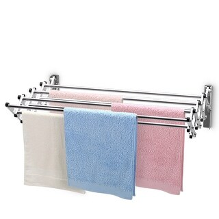 Costway Stainless Wall Mounted Expandable Clothes Drying Towel Rack Laundry Hanger Room - as pic