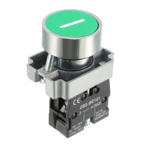 22mm Mounting Hole Green Emergency Stop Push Button Switch SPST NO 1pcs - green-