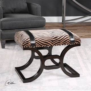 "19"" Kadir Small Concave Curved Birchwood Plush Animal Striped Bench"
