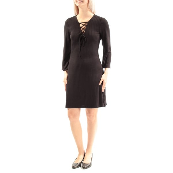 Kensie 79 Womens New 1518 Black Tie V Neck Long Sleeve Dress S Bb