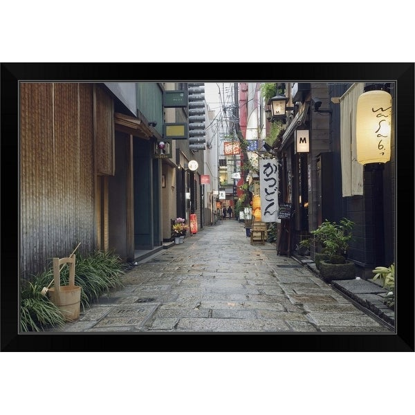 """""""Street View of Houzenji Row"""" Black Framed Print"""