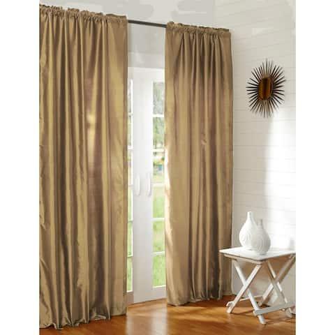 Radia Gold Silk Rod Pocket Single Curtain Panel