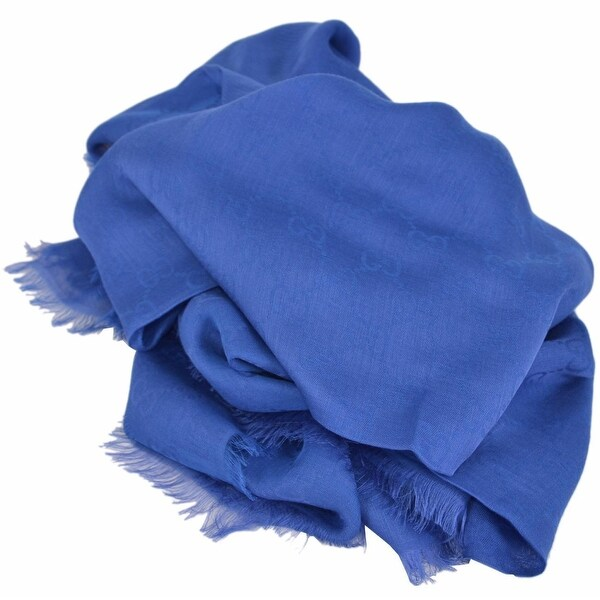 Gucci Women's 307245 ROYAL BLUE Modal Cotton GG Guccissima Scarf Wrap