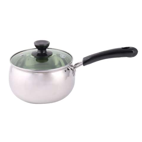 "Kitchenware Plastic Handle Stainless Steel Food Milk Soup Pot Pan - Silver,Black,Clear - 12.8"" x 6.3"" x 5.7""(L*W*H)"