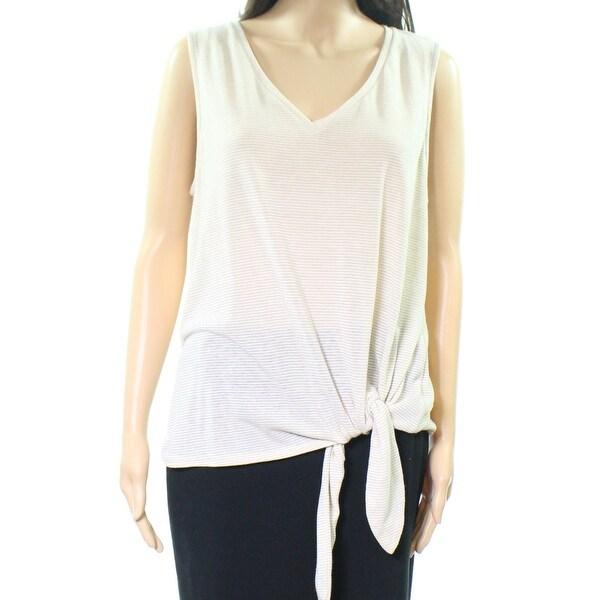 Gibson Womens Large Stripe V Neck Tie Hem Knit Top