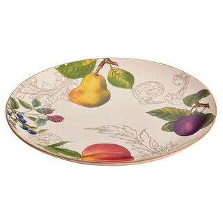 BonJour Dinnerware Orchard Harvest Stoneware 12-Inch Round Platter - Print