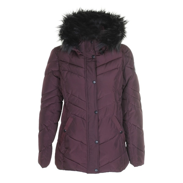 11b0dadb81a Shop Madden Girl Juniors Merlot Black Faux-Fur-Trim Hooded Puffer ...