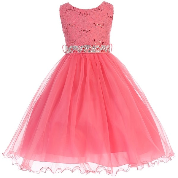 76370323642 Shop Flower Girl Dress Glitter Sequin Top   Rhinestone Sash Coral JK 3670 - Free  Shipping Today - Overstock - 16743008