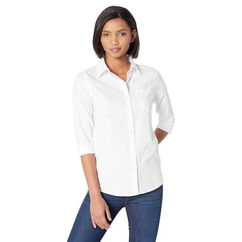 Essentials Women's Classic-Fit Long-Sleeve Oxford Shirt, White, Medium