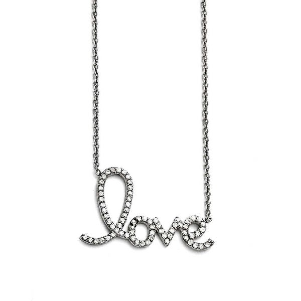 "Chisel Stainless Steel Polished ""Love"" with CZs Necklace - 18 in"