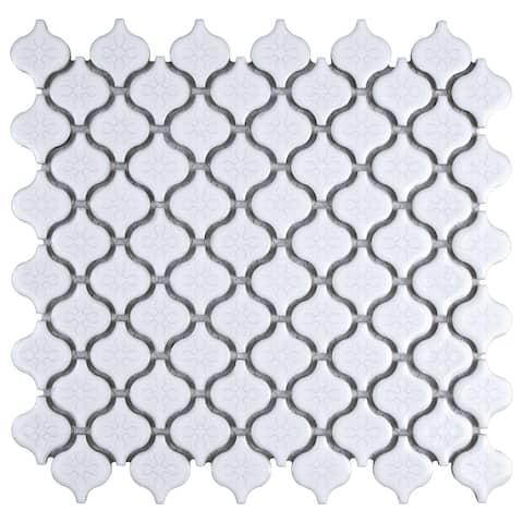 "SomerTile Lantern Mini Glossy White 10.75"" x 11.25"" Porcelain Mosaic Tile"