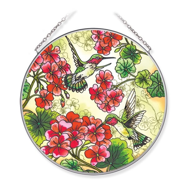"""Red and Green Geraniums with Hummingbirds Round Glass Wall Art Decor 6.75"""" - N/A"""