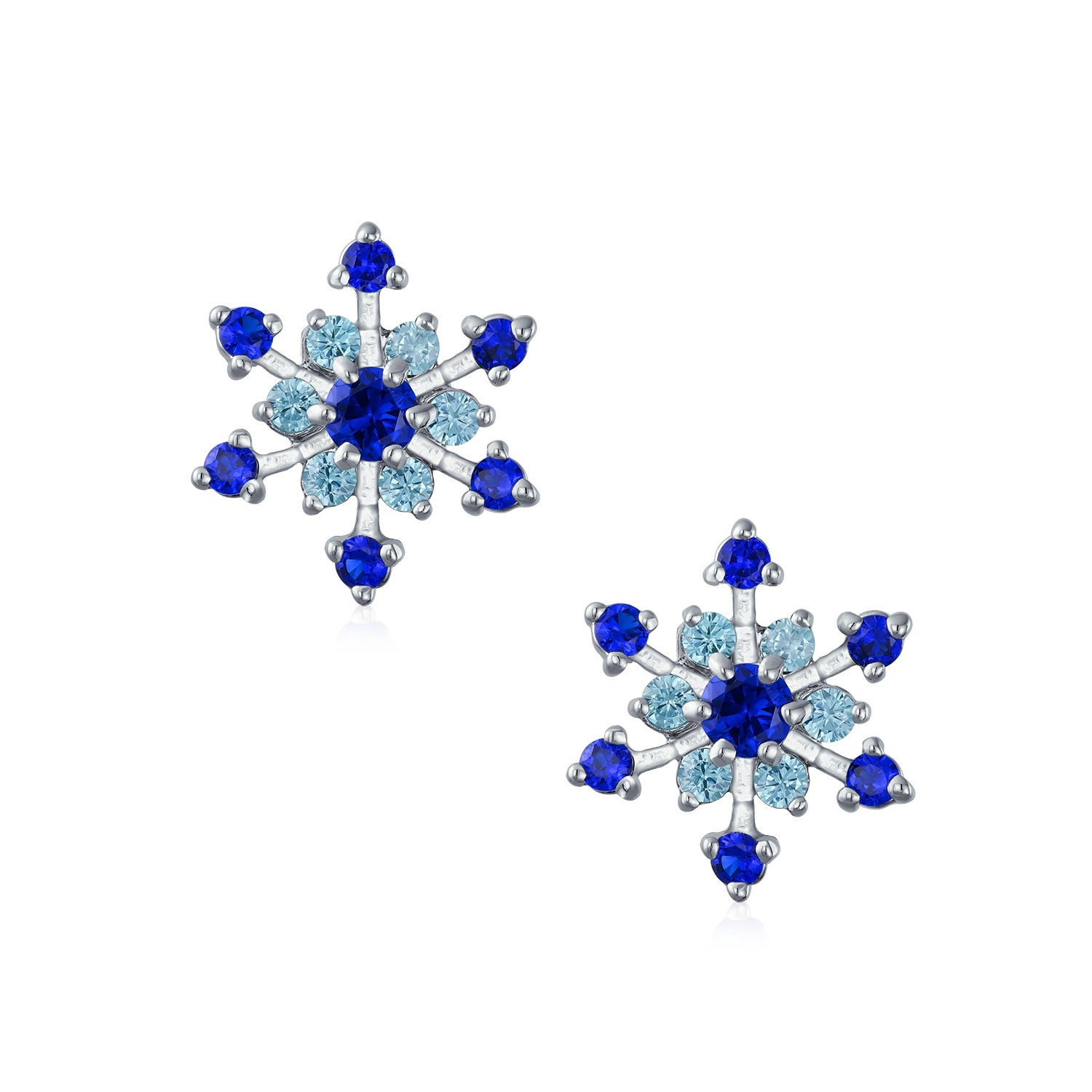 d51406d70 Shop Christmas Holiday CZ Royal Blue Aqua Cubic Zirconia Star Snowflake  Stud Clip On Earrings No Piercing Silver Plated Brass - Free Shipping On  Orders Over ...