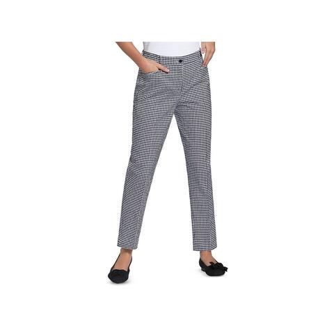 Basler Womens Straight Leg Pants Checkered Pleated - Black/White