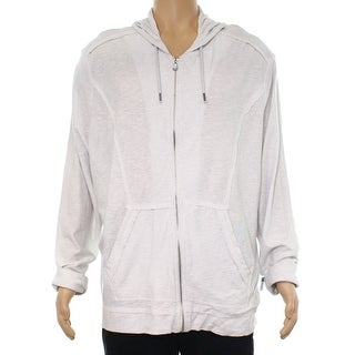 INC Washed Off White Mens Size XL Lined Full Zip Hooded Sweater