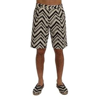 Dolce & Gabbana White Black Striped Cotton Linen Shorts