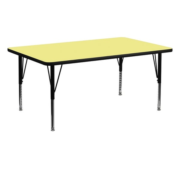 """Offex 30""""W x 72""""L Rectangular Activity Table with Yellow Thermal Fused Laminate Top and Height Adjustable Pre-School Leg - N/A"""