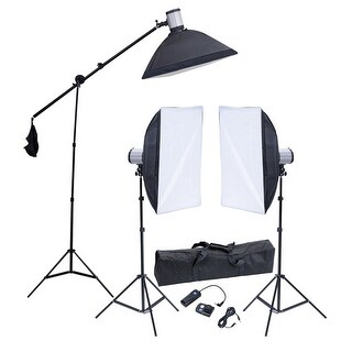 vidaXL Studio Set: 3 Flash Lights, Softboxes, Tripods & 1 Trigger