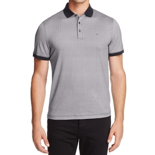Michael Kors NEW Gray Mens Size Large L Polo Rugby Mosaic Print Shirt