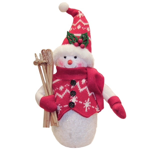 "10"" Alpine Chic Red and White Sparkling Snowman with Skiis Christmas Decoration"