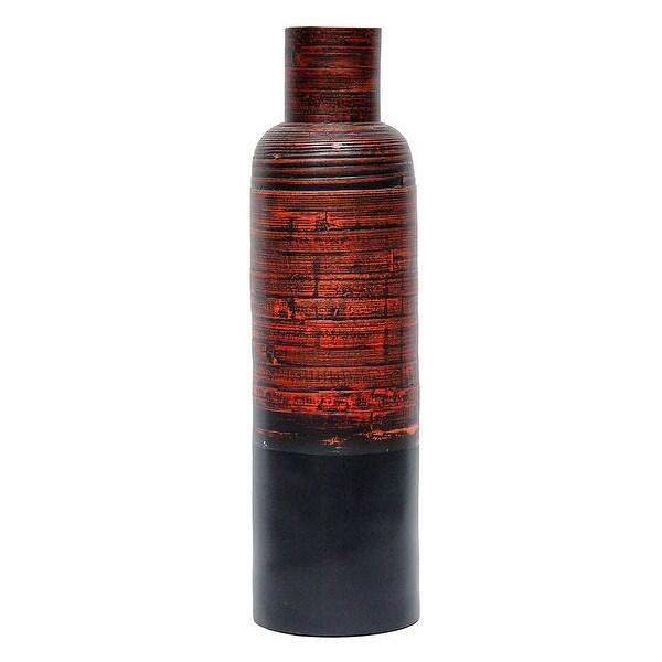 36 Spun Bamboo Bottle Vase - Bamboo In Distressed Red & Matte Black