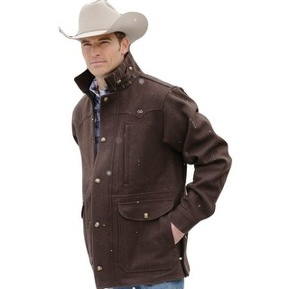 Miller Ranch Western Coat Mens Melton Wool Zip Chocolate DWJ2122402