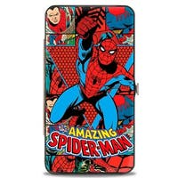 Marvel Comics The Amazing Spider Man Action Pose Retro Comic Blocks Hinged Hinge Wallet - One Size Fits most