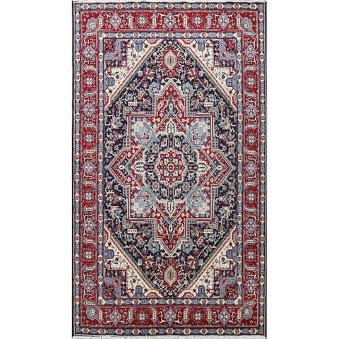 "Traditional Geometric Tabriz Oriental Area Rug Navy Blue Carpet - 6'5"" x 9'10"""