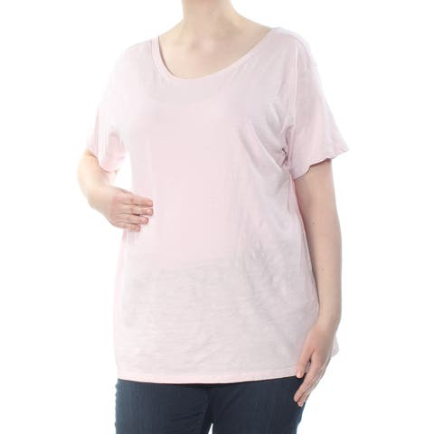 LEVI'S Womens Pink Low Back Heather Short Sleeve Scoop Neck T-Shirt Top Size: XL