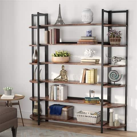 Triple Wide 6-Tier Bookshelves BookcaseDisplay Shelves