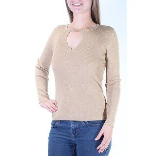 Womens Gold Long Sleeve Keyhole Casual Sweater Size XS