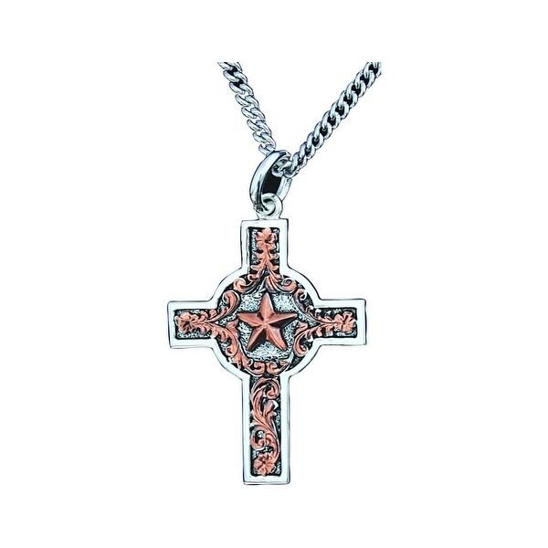 Bar V Ranch Western Womens Necklace Scrolls Star Cross Silver 316-003