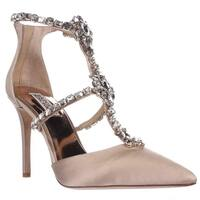 Badgley Mischka Deker Jeweled T-Strap Dress Heels, Latte