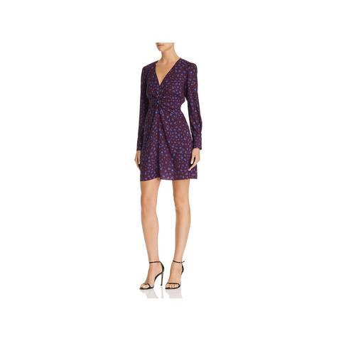 PARKER Burgundy Long Sleeve Short Sheath Dress Size 2