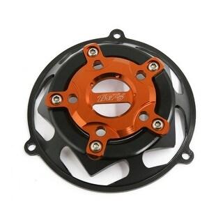 Unique Bargains Black Orange Aluminum Alloy Round 3 Holes Fan Cover Decor for Motorcycle