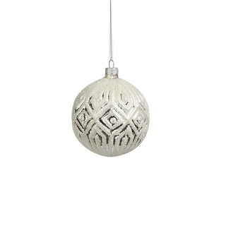 "Link to 4"" Glittered Silver Glass Ornaments, Set of 6 Similar Items in Christmas Decorations"