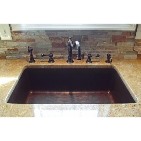 Premier Copper Products KSDB30199 30-inch Hammered Copper Single Basin Kitchen Sink