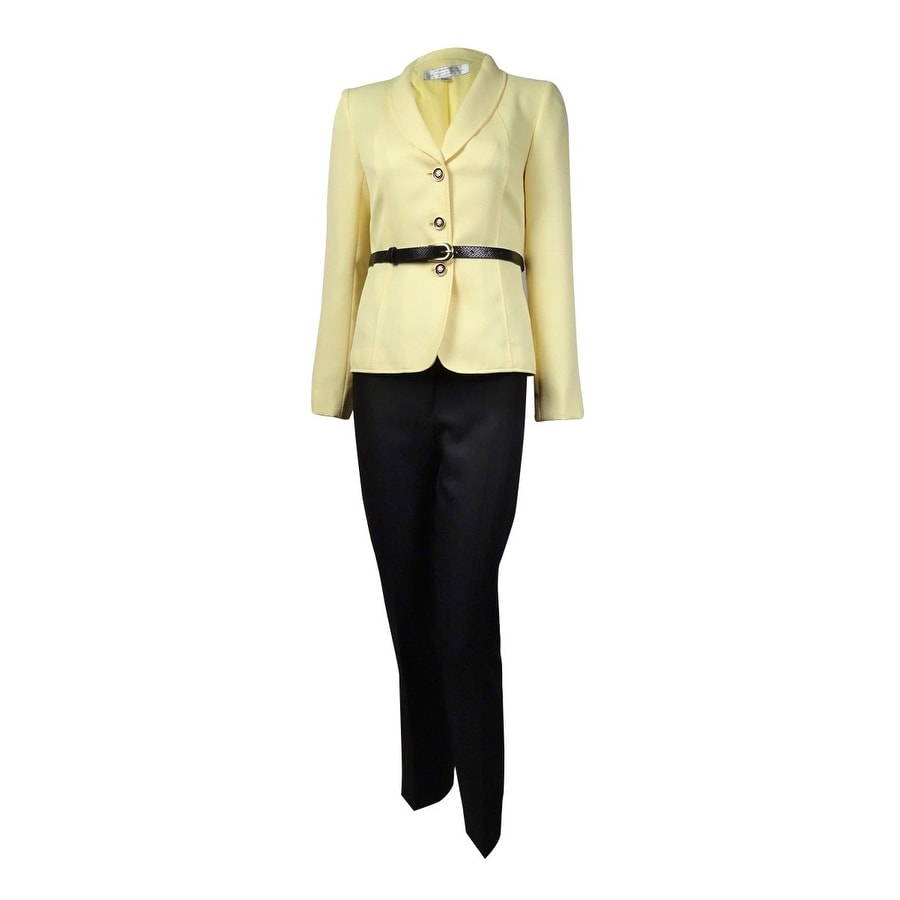 Tahari Womens Belted Shawl Lapel Three Button Pant Suit - Yellow/Black