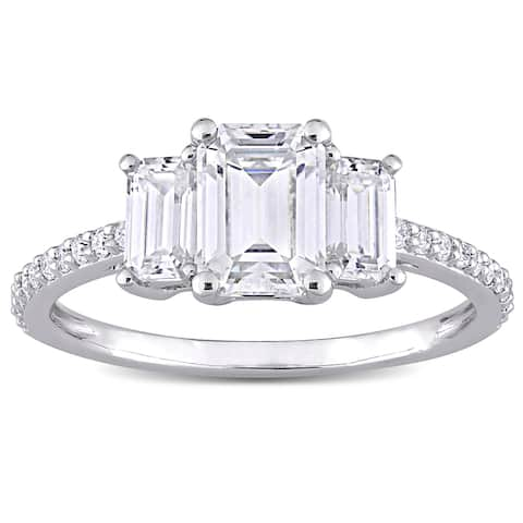 Miadora 1 3/4ct DEW Octagon-cut Moissanite 3-Stone Engagement Ring in 10k White Gold