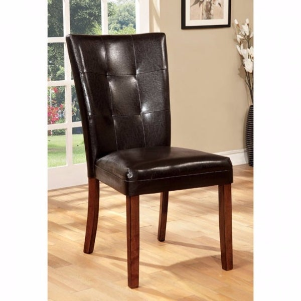 Side Chair With Dark Brown, Antique Oak Finish, Set Of 2