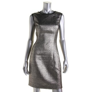 Shoshanna Womens Metallic Contrast Trim Cocktail Dress