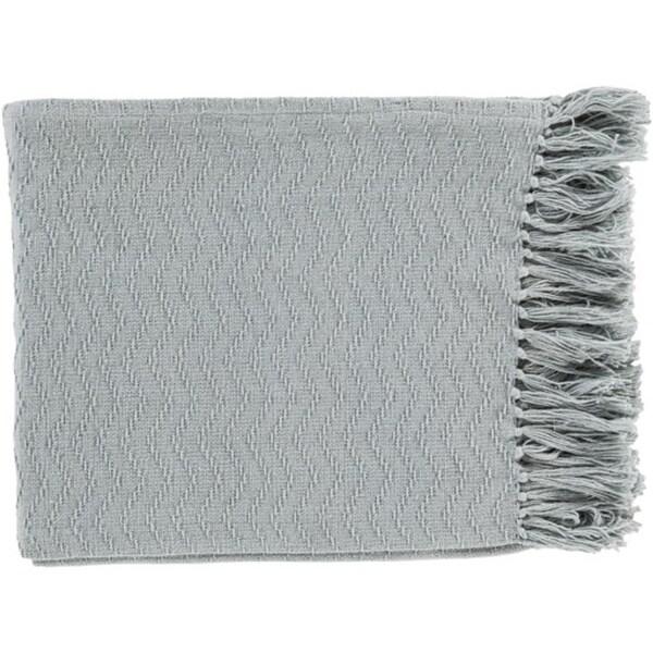 "Mist Gray Chevron Woven Cotton Fringed Decorative Throw Blanket 50"" x 60"""