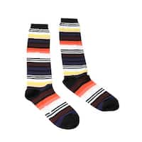 Missoni GM00CMD4934 0001 Black/Orange Striped Boot Socks - M