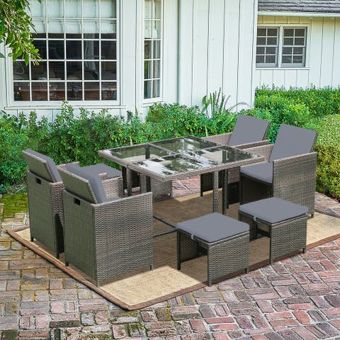 Outdoor Space Saving Rattan Chairs With Glass Table Patio Dining Sets Cushioned Seating Back Sectional Conversation