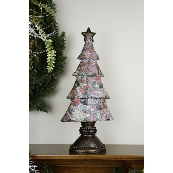 """20"""" Antique-Style Victorian Holly Berry Decoupage Christmas Tree Table Top Decoration"""
