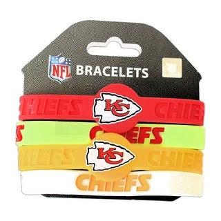 Kansas City Chiefs NFL Silicone Rubber Wrist Band Bracelet Set of 4