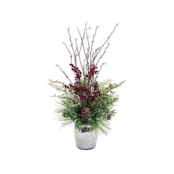 "32"" Decorative Iced Pine and Berry Potted Christmas Arrangement in Silver Speckled Vase"