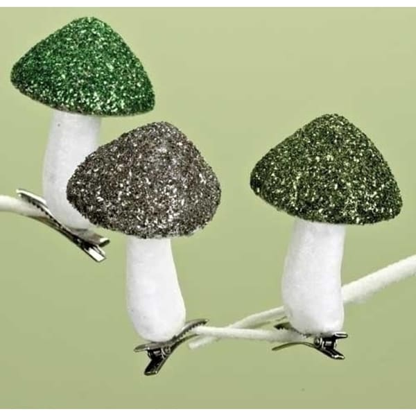 Pack of 36 Good Tidings to All Green & Grey Mushroom Clip-On Christmas Ornaments
