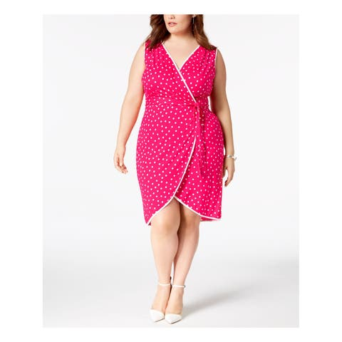 LOVE SQUARED Womens Pink Polka Dot Sleeveless V Neck Above The Knee Faux Wrap Dress Plus Size: 1X