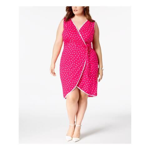 LOVE SQUARED Womens Pink Polka Dot Sleeveless V Neck Above The Knee Wrap Dress Dress Plus Size: 2X